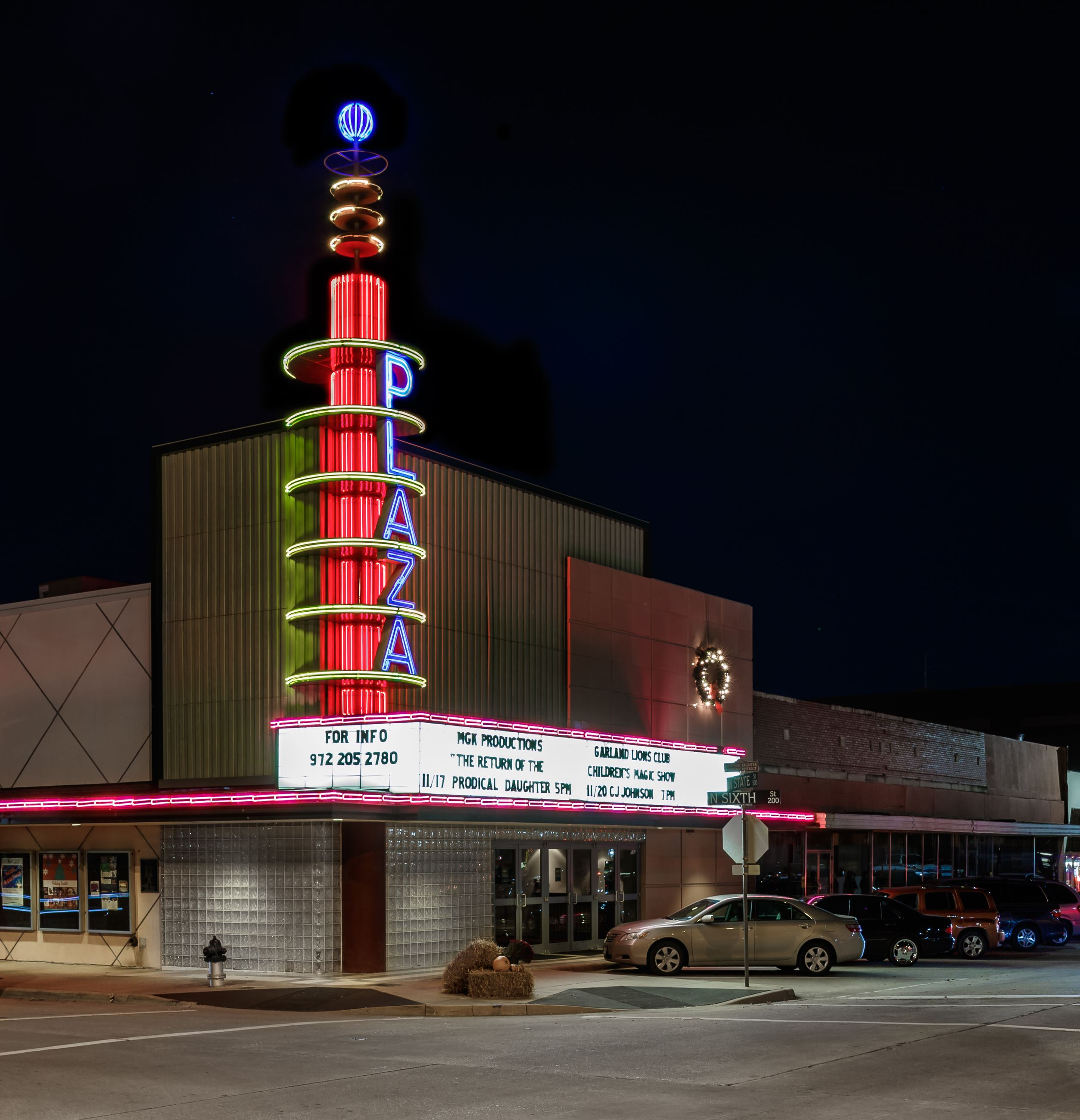 The Plaza Theatre at night