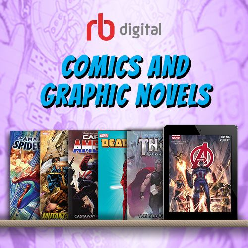 Picture of several comic books on a marbled purple background